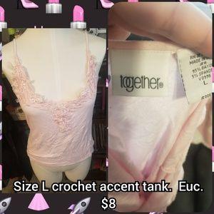 Pink Size L crochet accent tank.